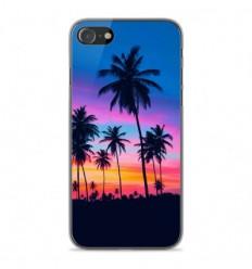 Coque en silicone Apple iPhone SE 2020 - Palmiers colorés