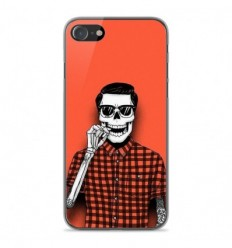 Coque en silicone Apple iPhone SE 2020 - Skull Hipster red shirt