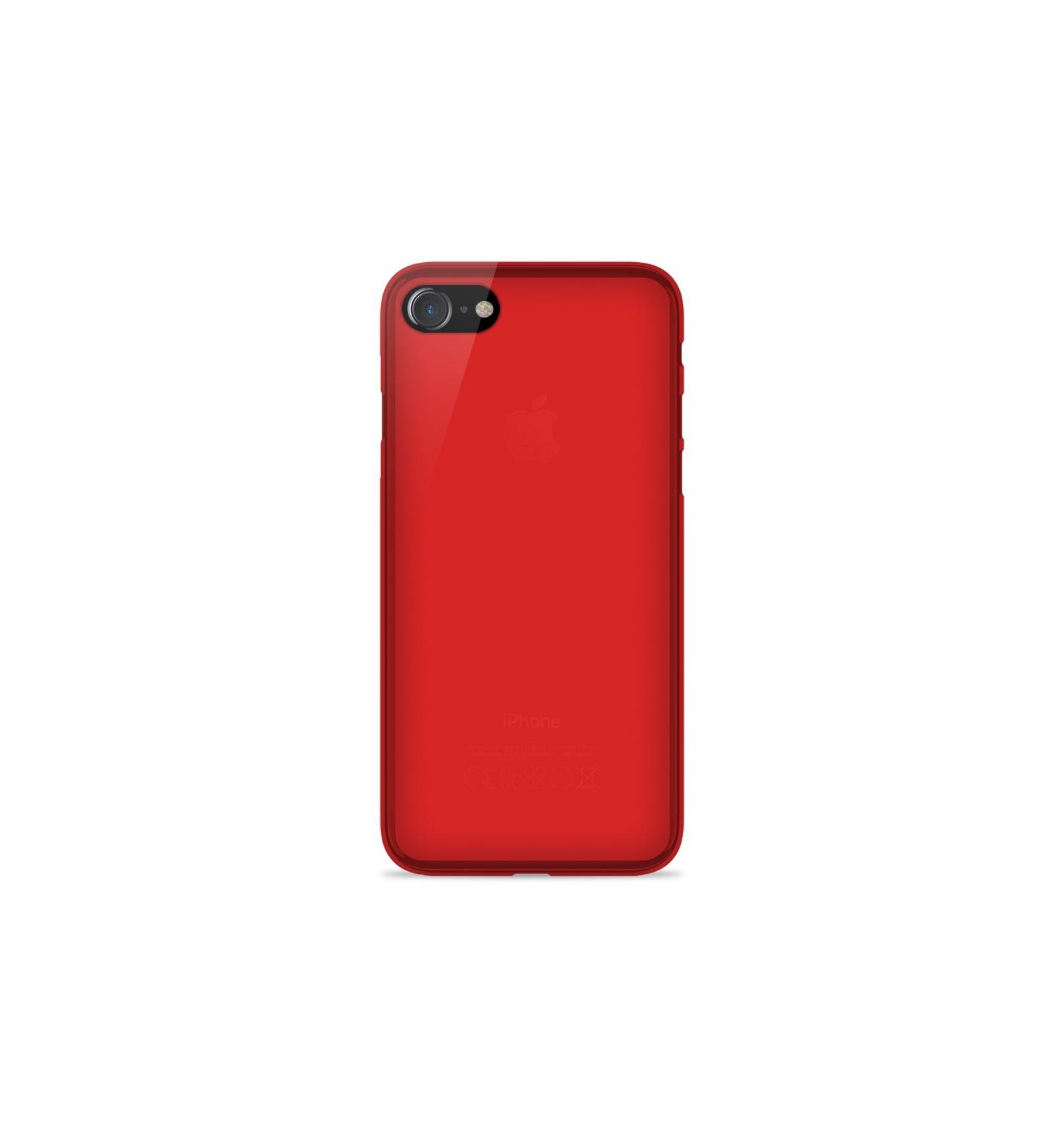 Coque Apple iPhone SE 2020 Silicone Gel givré - Rouge Translucide