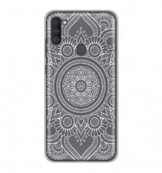 Coque en silicone Samsung Galaxy A11 - Mandala blanc