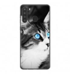 Coque en silicone Samsung Galaxy A21 - Chat yeux bleu