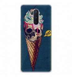 Coque en silicone OnePlus 8 - Ice cream skull blue