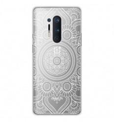 Coque en silicone OnePlus 8 Pro - Mandala blanc