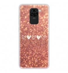 Coque en silicone Xiaomi Redmi Note 9 - Paillettes coeur