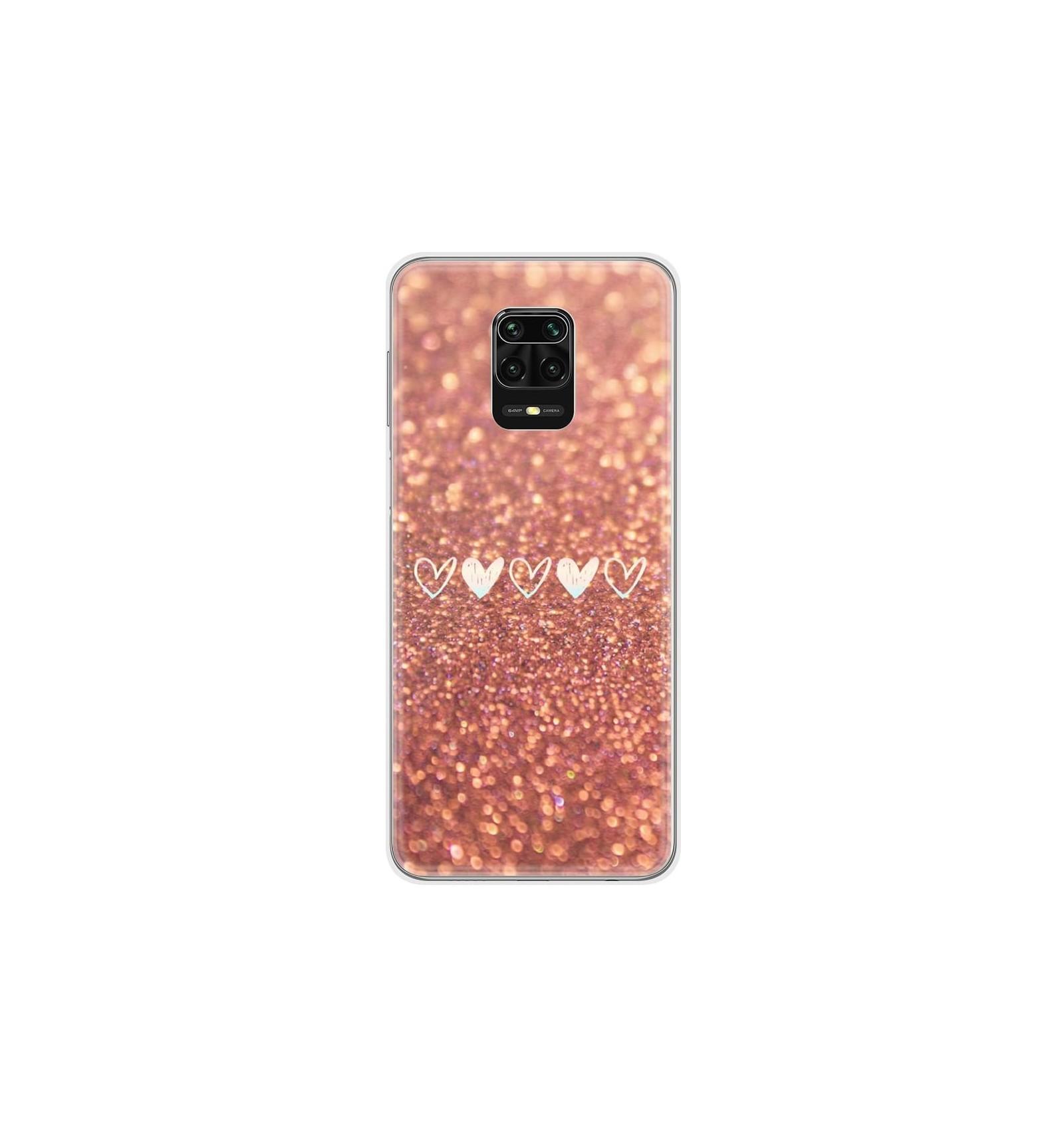 Coque En Silicone Xiaomi Redmi Note 9 Pro Paillettes Coeur