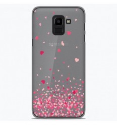 Coque en silicone Samsung Galaxy J6 2018 - Confettis de Coeurs Rose