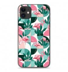 Coque en silicone Apple iPhone 11 - Flamants Roses géométrique