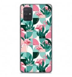 Coque en silicone Samsung Galaxy A71 - Flamants Roses géométrique