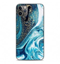 Coque en silicone Apple iPhone 11 Pro Max - Marbre Bleu Pailleté
