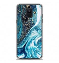 Coque en silicone Samsung Galaxy A6 2018 - Marbre Bleu Pailleté