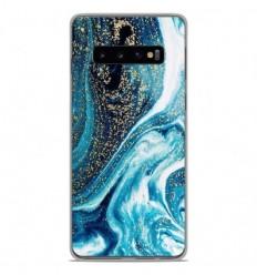 Coque en silicone Samsung Galaxy S10 - Marbre Bleu Pailleté