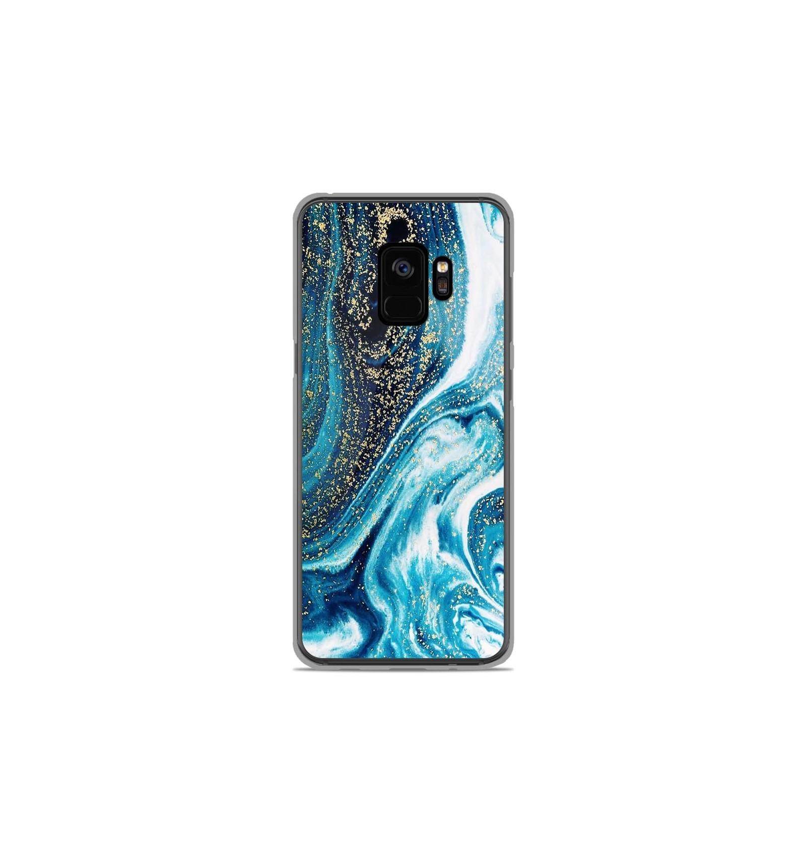 Coque en silicone Samsung Galaxy S9 - Marbre Bleu Pailleté