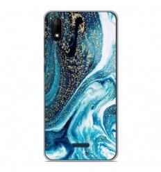 Coque en silicone Wiko Y60 - Marbre Bleu Pailleté