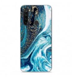 Coque en silicone Xiaomi Redmi Note 8 - Marbre Bleu Pailleté