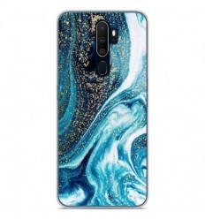 Coque en silicone Oppo A9 2020 - Marbre Bleu Pailleté