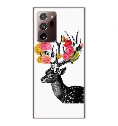Coque en silicone Samsung Galaxy Note 20 Ultra - Cerf fleurs