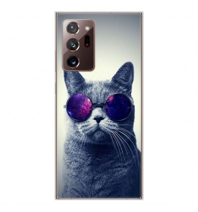 Coque en silicone pour Samsung Galaxy Note 20 Ultra - Chat à lunette