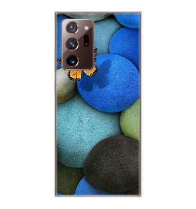 Coque en silicone Samsung Galaxy Note 20 Ultra - Papillon galet bleu