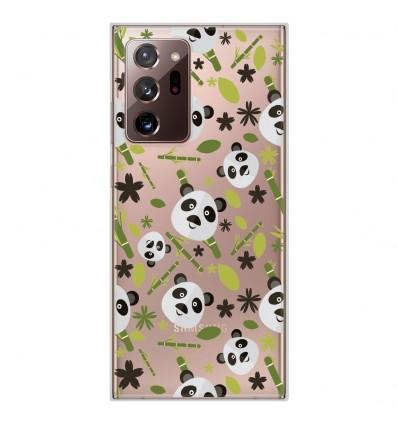 Coque en silicone pour Samsung Galaxy Note 20 Ultra - Pandas et Bambou