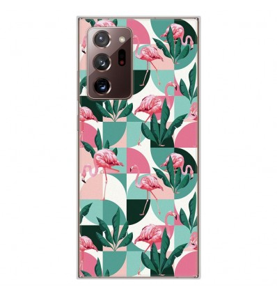 Coque en silicone Samsung Galaxy Note 20 Ultra - Flamants Roses géométrique
