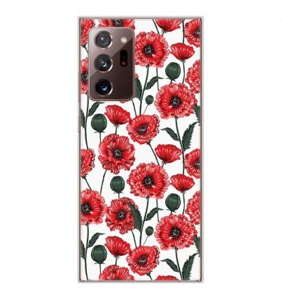 Coque en silicone pour Samsung Galaxy Note 20 Ultra - Fleurs de Pavot