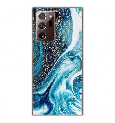Coque en silicone Samsung Galaxy Note 20 Ultra - Marbre Bleu Pailleté