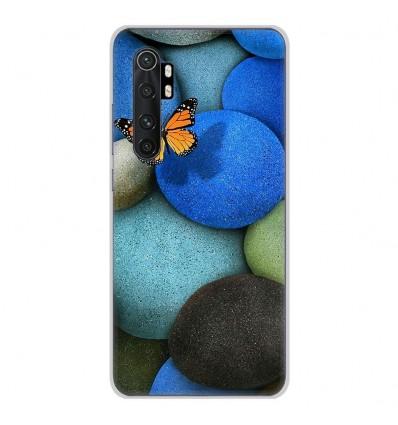 Coque en silicone pour Xiaomi Mi Note 10 lite - Papillon galet bleu