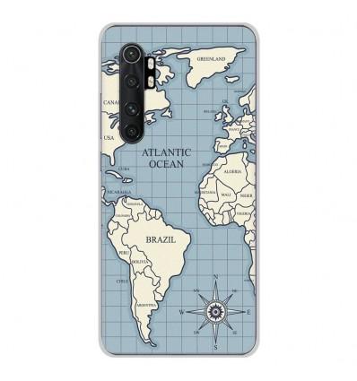 Coque en silicone pour Xiaomi Mi Note 10 lite - Map vintage
