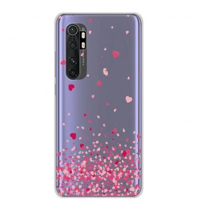 Coque en silicone Xiaomi Mi Note 10 lite - Confettis de Coeurs Rose
