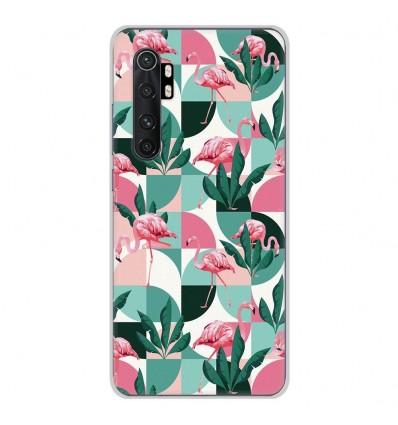 Coque en silicone Xiaomi Mi Note 10 lite - Flamants Roses géométrique