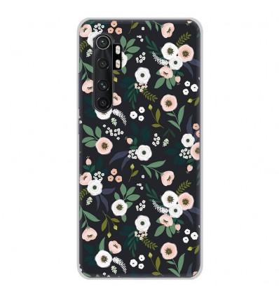 Coque en silicone pour Xiaomi Mi Note 10 lite - Flowers Noir
