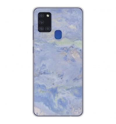 Coque en silicone pour Samsung Galaxy A21S - Marbre Bleu