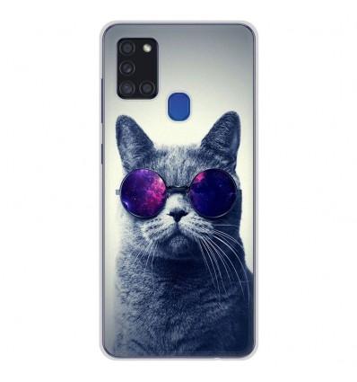 Coque en silicone pour Samsung Galaxy A21S - Chat à lunette