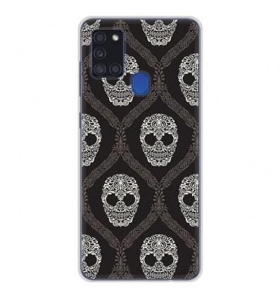 Coque en silicone Samsung Galaxy A21S - Floral skull