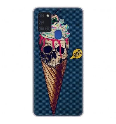 Coque en silicone Samsung Galaxy A21S - Ice cream skull blue