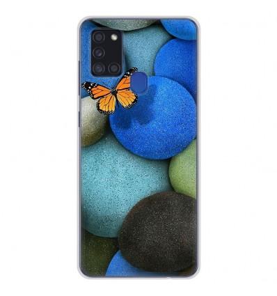 Coque en silicone pour Samsung Galaxy A21S - Papillon galet bleu