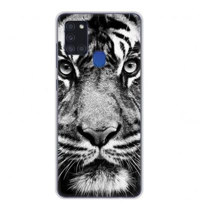 Coque en silicone Samsung Galaxy A21S - Tigre blanc et noir
