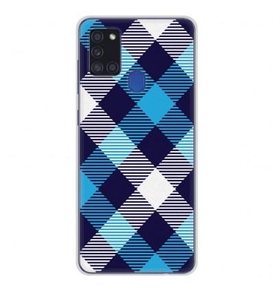 Coque en silicone Samsung Galaxy A21S - Tartan Bleu