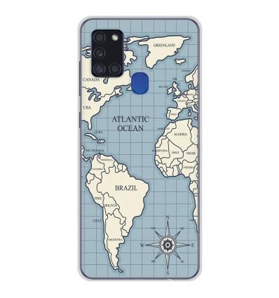 Coque en silicone Samsung Galaxy A21S - Map vintage