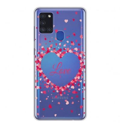 Coque en silicone Samsung Galaxy A21S - Confettis de Coeurs Love
