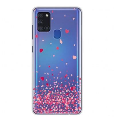 Coque en silicone Samsung Galaxy A21S - Confettis de Coeurs Rose