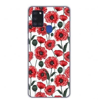 Coque en silicone Samsung Galaxy A21S - Fleurs de Pavot