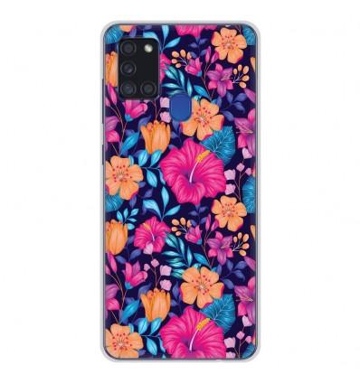 Coque en silicone pour Samsung Galaxy A21S - Fleurs Exotiques