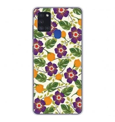 Coque en silicone pour Samsung Galaxy A21S - Fleurs Violettes