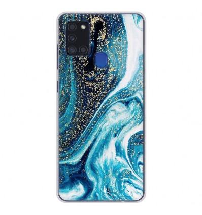 Coque en silicone pour Samsung Galaxy A21S - Marbre Bleu Pailleté