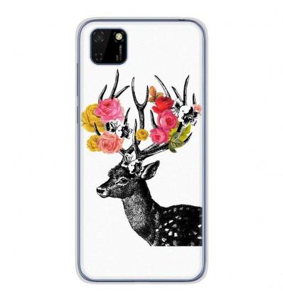 Coque en silicone Huawei Y5P - Cerf fleurs