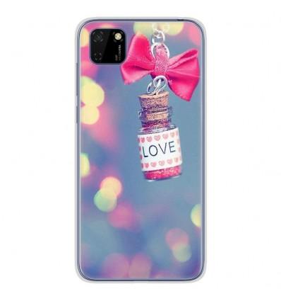 Coque en silicone Huawei Y5P - Love noeud rose