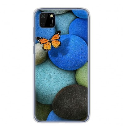 Coque en silicone Huawei Y5P - Papillon galet bleu