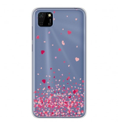 Coque en silicone Huawei Y5P - Confettis de Coeurs Rose