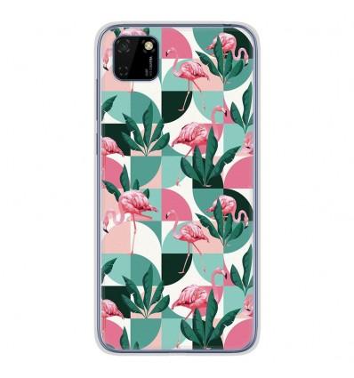 Coque en silicone Huawei Y5P - Flamants Roses géométrique